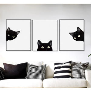 3Pcs Black Cats Canvas