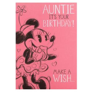 Minnie Mouse Auntie Birthday Card