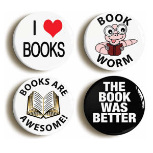Book Lover Badge Button Pin Set