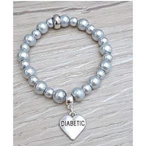 Handmade Diabetic Silver Stretch Bracelet