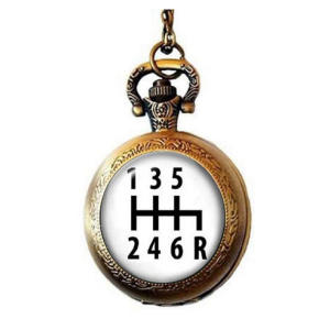 Gear Shift Pocket Watch Necklace