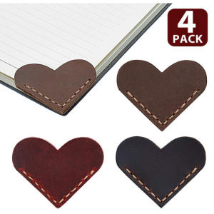 4 Corner Genuine Leather Page Corner Bookmarks