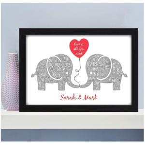 Personalised Couples Kissing Elephants Print