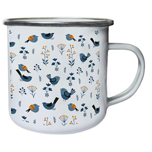 Floral Birds Leaves Retro Mug