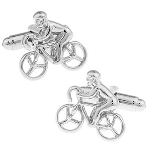 Silver Racing Cyclist Cufflinks