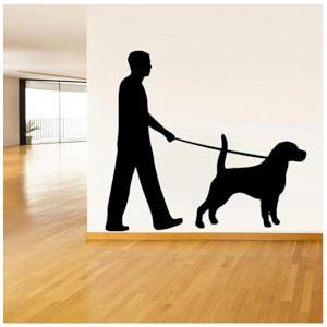 Labrador Dog Walker Wall Sticker