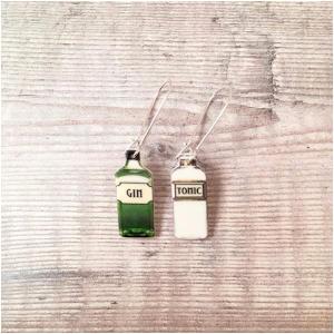 Gin and Tonic Bottle Earrings