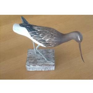 Wood Carving of a Godwit Feeding Bird