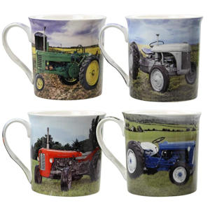 Set 4 Old Tractor Mugs