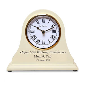 50th Golden Wedding Gift Engraved Wooden Clock