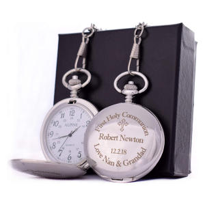 Engraved Holy Communion Silver Pocket Watch