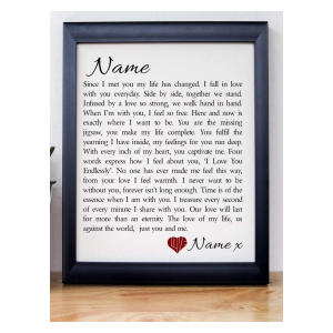 Personalised Love Poem Framed Print