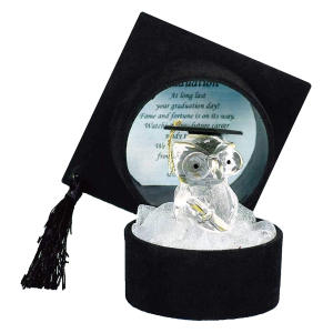 Crystal Owl in Black Graduation Hat