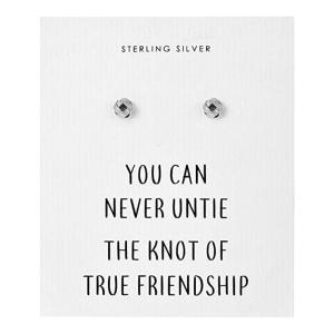 Friendship Quote Knot Earrings