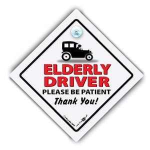 Joke Elderly Driver Car Sign