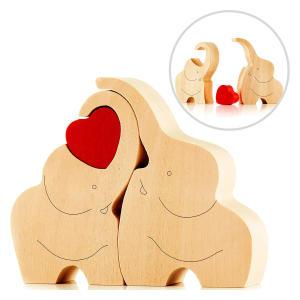 Loving Wooden Elephant Couple