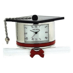 Miniature Graduation Hat & Scroll Clock