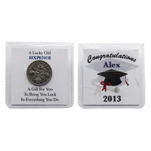 Personalised Graduation Lucky Sixpence