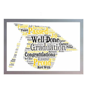 Framed Graduation Cap Word Art