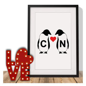 Personalised Initial Penguin Love Heart Print