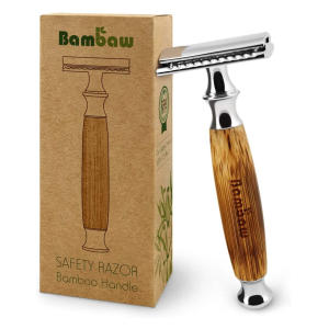 Razor with Long Natural Bamboo Handle