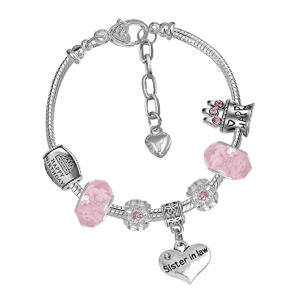 Sister in Law Silver Crystal Charm Bracelet