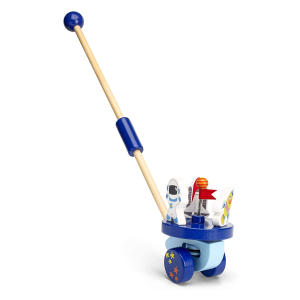 Space Rocket Push Along Wooden Toy