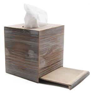 Retro Wood Tissue Box