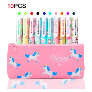 10 Unicorn Pens with Pencil Case