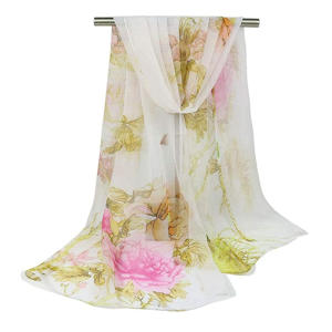Floral Print Chiffon Scarf