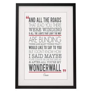 Oasis 'Wonderwall' Song Lyrics Framed Print