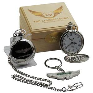 Aston Martin Silver Pocket Watch and Keyring Set