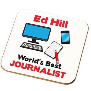 Personalised Best Journalist Coaster