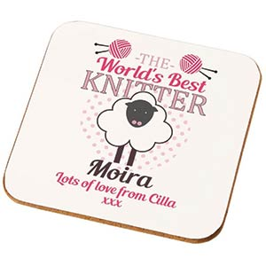Personalised World's Best Knitter Coaster