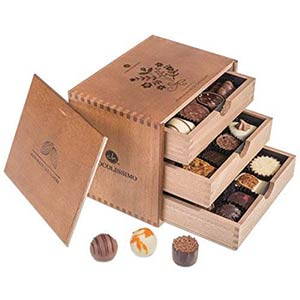 Praline Chocolates In Wooden Box