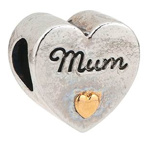 Mom Bead Heart Charm
