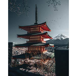 Red Japan Tower Jigsaw
