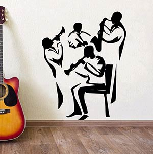 Jazz Band Playing Wall Sticker