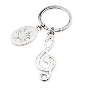 Personalised Music Note Keyring