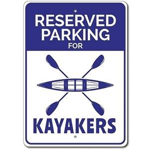 Kayaker Novelty Parking Sign