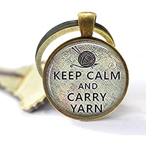 Keep Calm and Carry Yarn Keyring