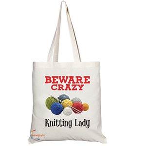 Beware Crazy Knitting Lady Bag
