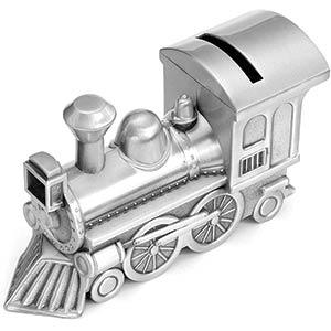Silver Train Piggy Bank