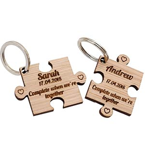 Personalised Jigsaw Wooden Keyrings