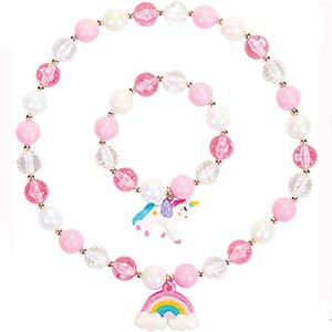 Rainbow Neckace Unicorn Bracelet Set