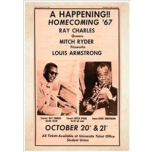 A4 Concert Poster Ray Charles Mitch Ryder Louis Armstrong