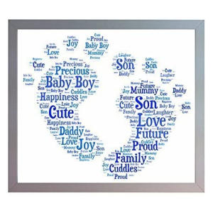 Framed New Baby Boy Footprint