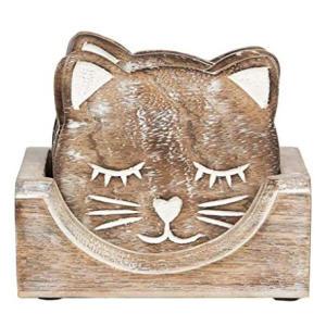 Wooden Carved Cat Coaster Set