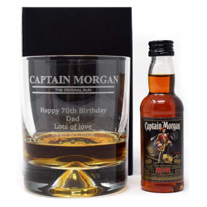 Personalised Dimple Glass Tumbler and Mini Rum