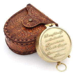 Thoreau's Go Confidently Quote Engraved Compass